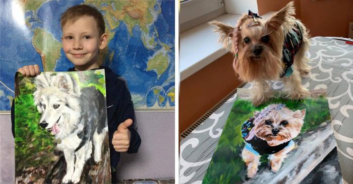 Bambino dipinge bellissimi ritratti di cani e gatti in cambio di donazioni ai rifugi per animali
