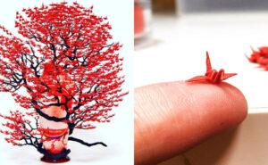 Incredibili alberi bonsai realizzati con centinaia di origami in miniatura