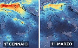 Il coronavirus fa diminuire i livelli di inquinamento in Italia, le immagini dal satellite