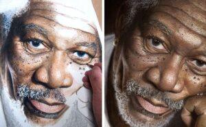 Artista usa matite colorate per creare ritratti iperrealisti di celebrità