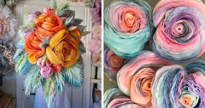 Artista crea enormi bouquet di fiori in carta velina che sembrano uscire da un sogno