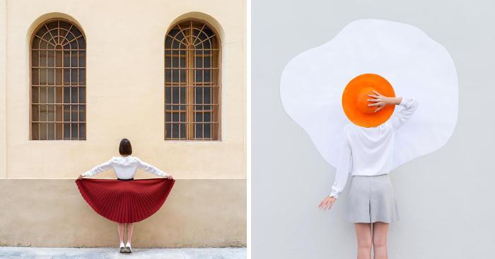 Accattivanti foto creative giocano con simmetrie e oggetti di uso quotidiano