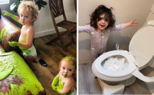 Foto divertenti di genitori costretti in quarantena con i figli