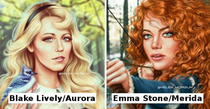 Illustratrice trasforma celebrità nei personaggi iconici della Disney
