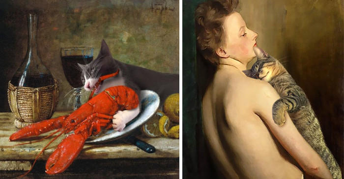 Inserisce i suoi gatti in dipinti famosi ed è esilarante