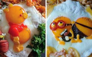 Mamma giapponese cucina delle uova fritte così carine che è un peccato mangiarle
