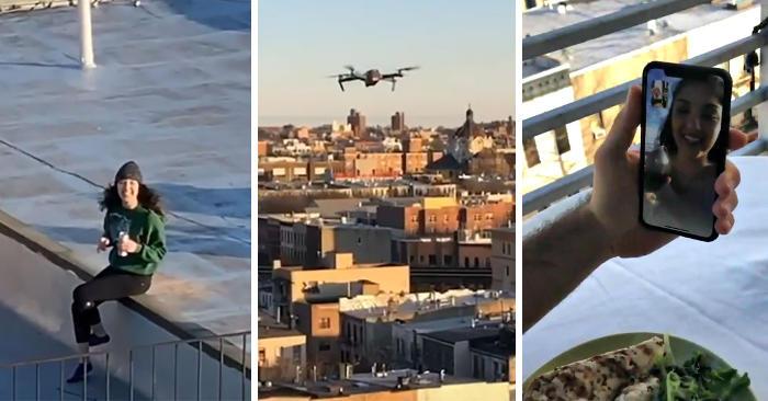 Vede una ragazza che balla su un tetto, le invia un drone con il suo numero e si danno un appuntamento a distanza