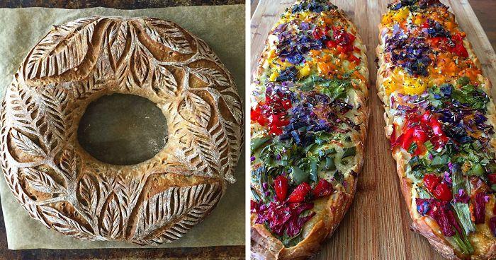 Pane fatto in casa decorato con incisioni, frutta e verdura imita piante e fiori