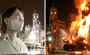 Anche questo passerà: enorme scultura di donna con la mascherina illumina Valencia di speranza