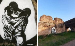 """Lo street artist Hogre imbratta parte dell'antico acquedotto romano, """"Non è arte, è uno scempio"""""""