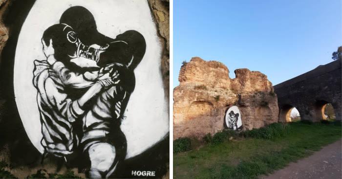 Lo street artist Hogre imbratta parte dell'antico acquedotto romano,