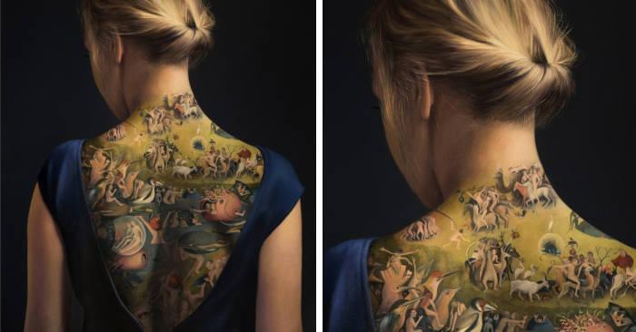Ragazza tatuata con il
