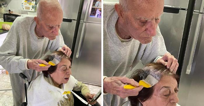 92enne aiuta la moglie a tingersi i capelli durante la quarantena, e la foto diventa virale