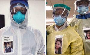 Medici attaccano le loro foto sorridenti sulle tute protettive per confortare i pazienti Covid-19