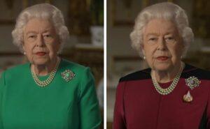 La Regina d'Inghilterra fa un discorso in abito verde e diventa il paradiso dei photoshopper