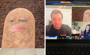 Direttrice in videoconferenza diventa una patata e non riesce a disattivare il filtro per tutto il tempo