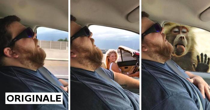 Si addormenta in auto, la moglie chiede al web di photoshoppare le cose che non ha visto in viaggio