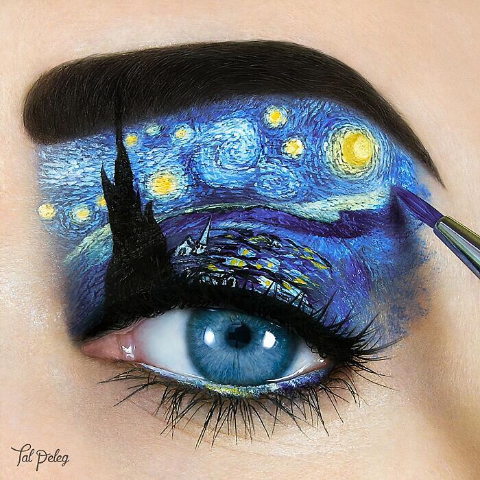 Truccatrice utilizza gli occhi come una tela per la sue creazioni artistiche